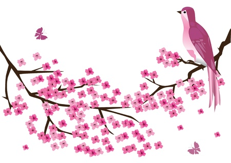 blossom branches with bird Stock Vector - 9579735