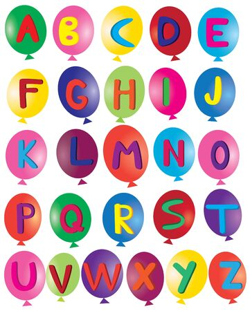 paper spell: balloons with alphabet letters Illustration