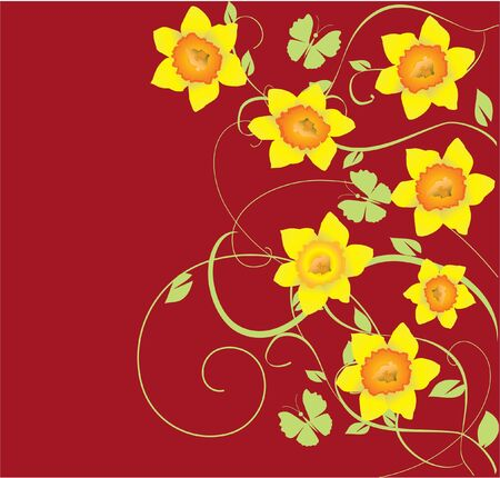 daffodil frame with butterflies Vector