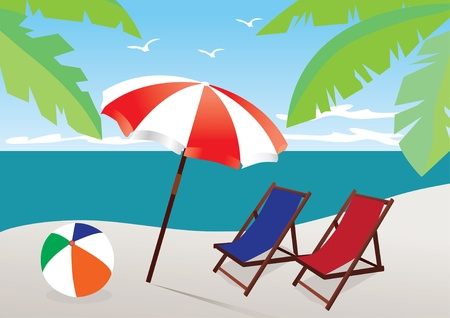 beach with umbrella and chairs Vector