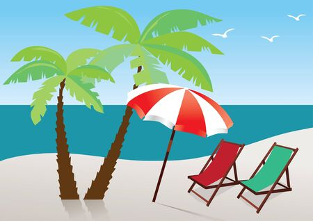 beach with umbrella, palms and chairs