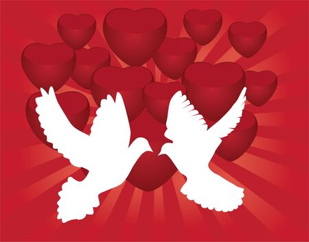 doves and red heart background Vector