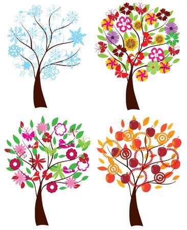 vector season trees Stock Vector - 9637246