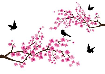 kersenboom: vector cherry blossom met vogels Stock Illustratie