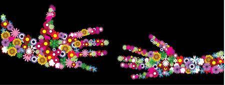 vector floral hands