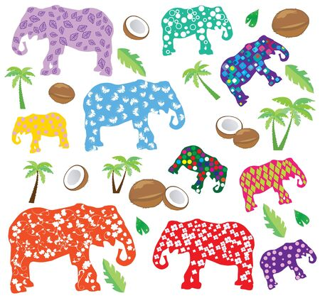 vector elephants with patterns Vector