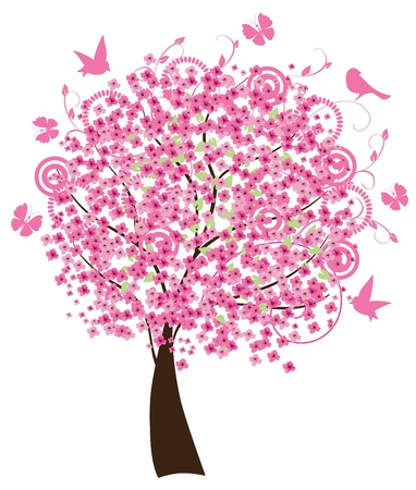 vector cherry tree in blossom Illustration