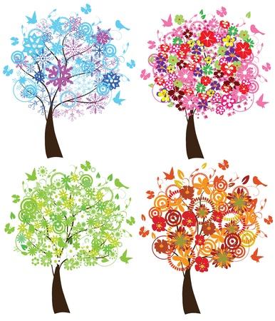 vector seizoen bomen Stock Illustratie