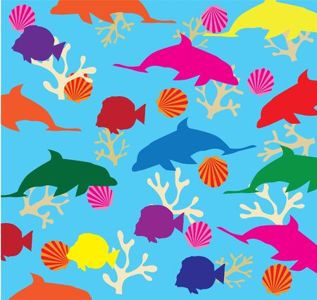 vectro background with fish and dolphins Vector