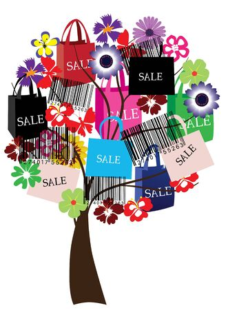 new sale: sale tree with bar-codes and shopping bags