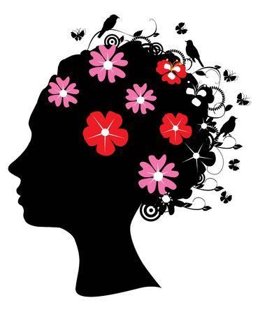 floral head silhouette Vettoriali