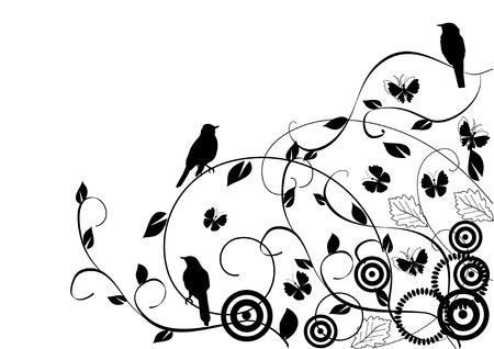 pajaro dibujo: fondo floral con aves Vectores