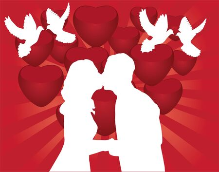 romance: kissing couple silhouette Illustration