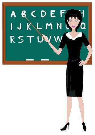 黒板に教師  イラスト・ベクター素材