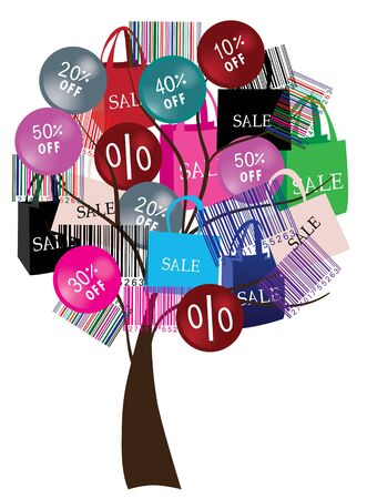 large woman: sale tree with bar-codes and shopping bags