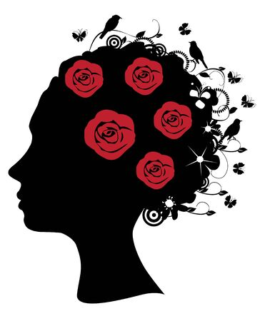 female head silhouette with flowers and birds