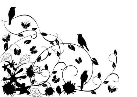 Florale achtergrond met vogels Stockfoto - 9874464