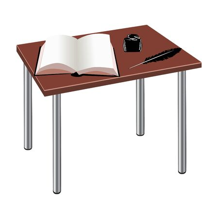 table with book and feather Vector