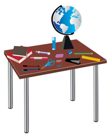 table with school or office supplies Vector