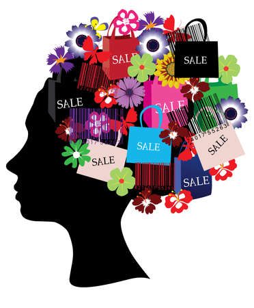 female head silhouette sale icons Vector