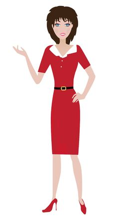 business woman: vector woman presenting