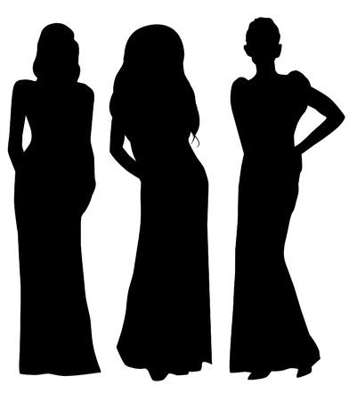 長いドレスの女性のシルエット