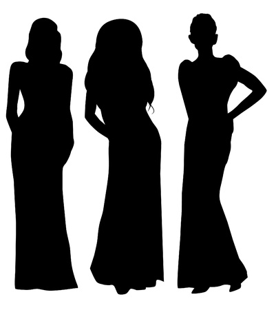 long night: women silhouettes in long dresses