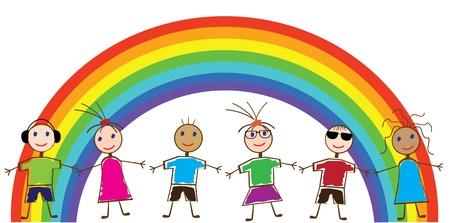 arcoiris caricatura: Arco Iris y los ni�os Vectores
