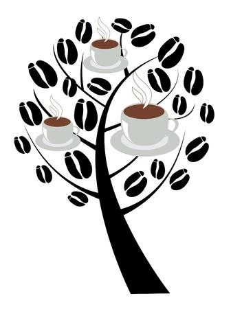 一杯のコーヒーとコーヒーの木  イラスト・ベクター素材