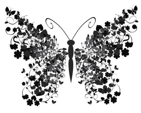 빈티지 나비 일러스트
