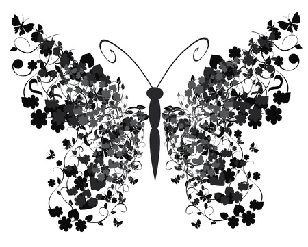 victorian wallpaper: vintage butterfly Illustration