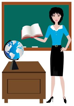 教室で教師  イラスト・ベクター素材