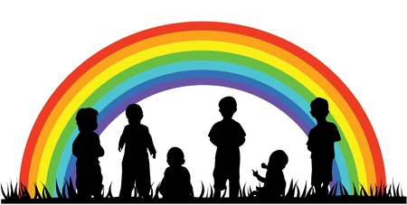 vector children silhouettes and rainbow Vector