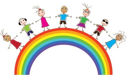 children painting: Arco Iris y los ni�os de vectores Vectores