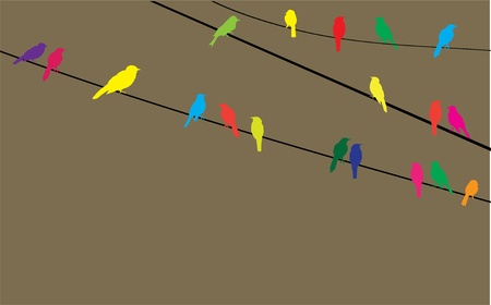 migrating animal: vector birds on wire