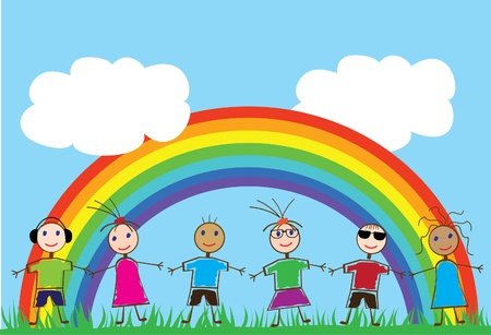 vector funny children and rainbow Vector