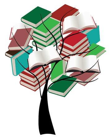 vector tree with books