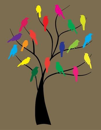 vector birds in the tree Vector