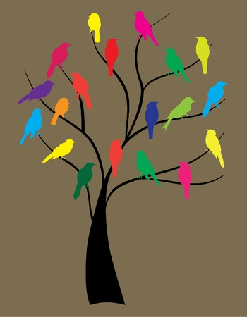 vector birds in the tree Illustration