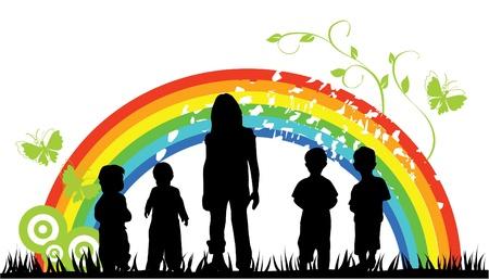 Arc-en-ciel et silhouettes enfants Banque d'images - 10287203
