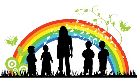 small group: children silhouettes and rainbow