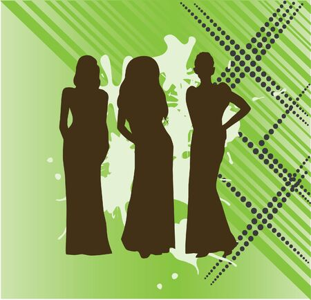 glamour model: women silhouettes in long dresses