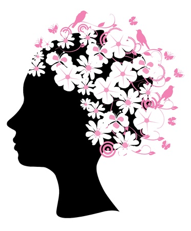 head silhouette:  head silhouette with flowers