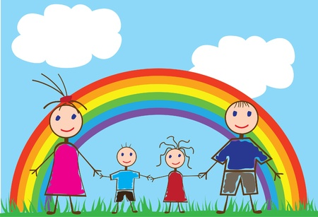 funny people and rainbow Stock Vector - 10287207