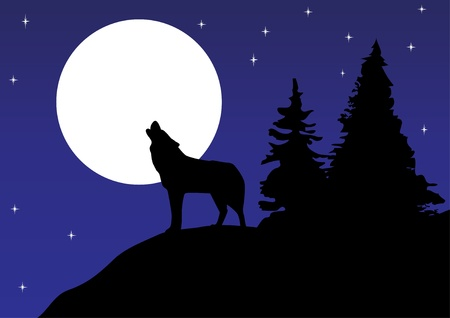 vector wolf howling at the moon