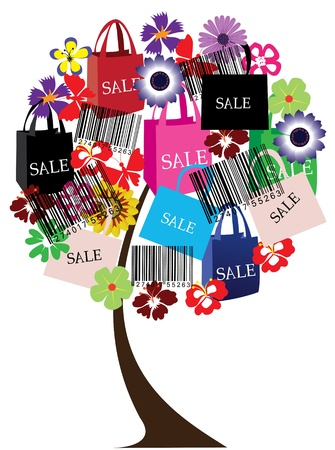 summer holiday: vector sale tree with bar codes Illustration