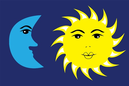 ベクトル太陽と月  イラスト・ベクター素材