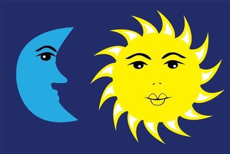 vector sun and moon Vector