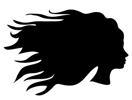black hair: vector woman head silhouette with long hair