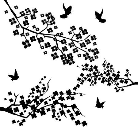 복숭아: 조류와 벡터 꽃 가지 일러스트